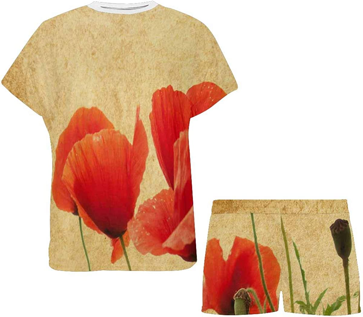 InterestPrint Field of Poppies Women's Pajama Sets Short Sleeve Shorts - Pajamas for Women