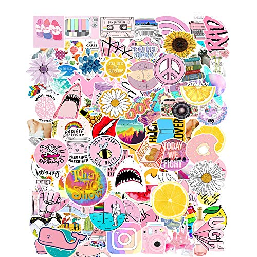 Calcomanía para Bicicleta,103 Piezas Pegatinas de Graffiti Rosa, Pegatinas de Moda para Portátil, Pegatinas Mixtas de Botellas de Agua, Pegatinas Vsco Girl, Pegatinas, para Laptop, Equipaje, Guitarra