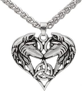 Men Celtic Spirit Amulet Couple Wolf Heart Pendant Necklace
