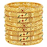 Mansiyaorange Eight Traditional Fancy Designer Casual Party Original Hand Work Meena One Gram Gold Multi Color Bangles for Women