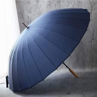 Retro Home Umbrella Large Windproof Fiber Umbrella Umbrella Business Long Handle Umbrella Black, Blue Optional HYBKY (Color : Blue)