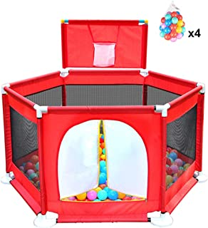 Baby Playpen Kid s Fence 6-Panel Activity Center  Playard for Infant and Baby  Red  with 200 Balls