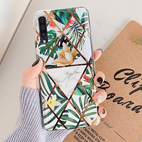 MoreChioce compatible avec Coque Samsung Galaxy A70,Coque Galaxy A70 Marbre Or,Premium Géométrie Fleur Strass Glitter Silicone Housse de Protection Tr