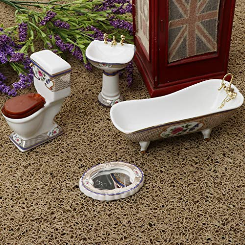 LULIJP Cuarto de baño Set de Lavado 4pcs Baño Decoración WC Bañera Conjunto Dollhouse Accesorios Miniatura for Accesorios de baño 1:12 (Color : Blanco, Size : Gratis)