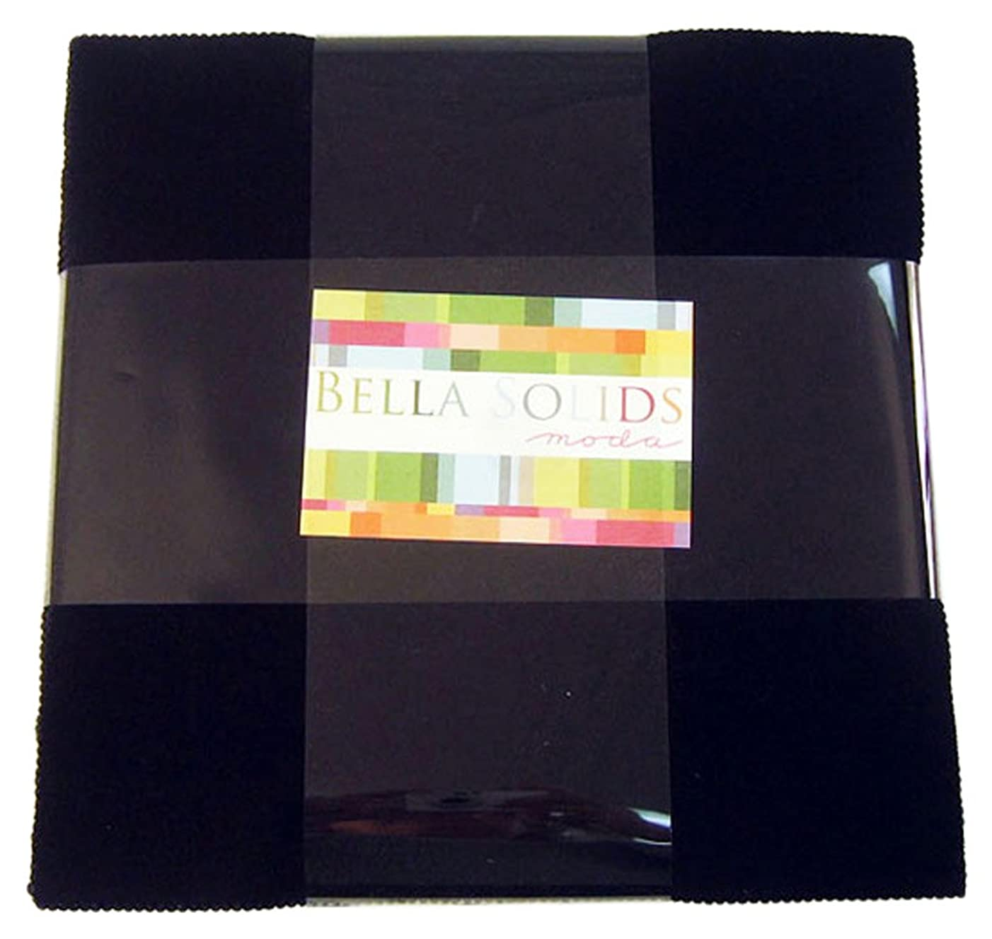 Moda BELLA SOLIDS BLACK Layer Cake 10 Fabric Quilting Squares 9900LC-99 by Moda Fabrics