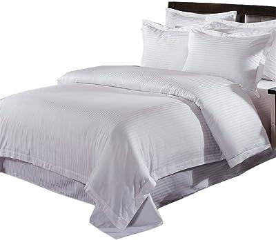 ホテル布団カバーセットダブルソフトホテル品質ストライプ布団カバーセット(ホワイト)寝具のベッドカバー
