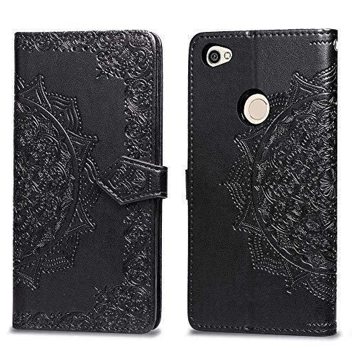 Bear Village Hülle für Xiaomi Redmi Note 5A, PU Lederhülle Handyhülle für Xiaomi Redmi Note 5A, Brieftasche Kratzfestes Magnet Handytasche mit Kartenfach, Schwarz