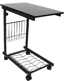 Table pour Ordinateur sur Roulettes Hauteur Réglable avec Rangement Table d'appoint Table de Lit pour Ordinateur Portable ...