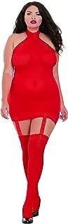 Women's Plus Size Semi-Sheer Halter Garter Dress with Thigh High Stockings