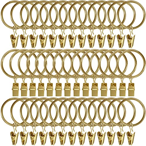 LLPJS 40 Pack Metal Curtain Rings with Clips, Drapery Clips with Rings, Curtain Rod Clips Hooks, Decorative Windows Hanging Curtain Hangers, 1.5 Inch Interior Diameter, Yellow Gold Colour