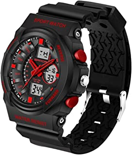 Songlin@yuan 5297 LED Night Light Display and Stopwatch & Alarm Clock and Date and Week Function Men's Quartz + Digital Dual Sports Watch with Plastic Belt Fashion (Color : Red)