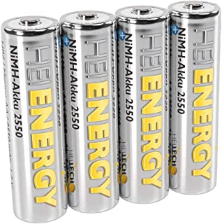Heitech Mignon AA-batterij, 2550 mAh, 1,2 V, NiMH, TÜV-getest, 4 stuks, oplaadbare batterijen met lage zelfontlading, accu...