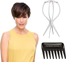 Evan Front Lace SmartLace Wig with Wig Stand and Comb by Jon Renau, 3 PC Bundle: Color 4-33 Chocolate Raspberry Truffle