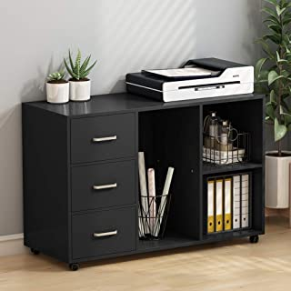 Tribesigns 3 Drawer Wood File Cabinets, Large Modern Lateral Mobile Filing Cabinets Printer Stand with Wheels, Open Storage Shelves for Home Office Study Bedroom(Black)