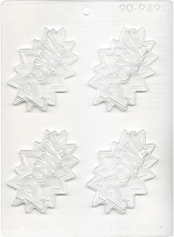 CK Products Super Hero Lingo POW Decorating Chocolate Mold 9 5 X7 5 Clear