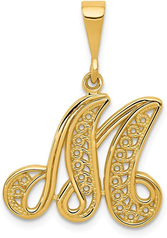 14k Yellow Gold Script Filigree Letter M Initial Monogram Name Pendant Charm Necklace Fine Jewelry For Women Gifts For Her