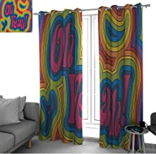 Groovy Decorations Collection Creative Blackout Window Drapes for Teenagers Bedroom Rainbow Psychedelic Oh Yeah Hippie Dated Vibrant Colored Art curtain panels Orange Yellow Red Green Blue Pink