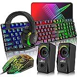 ゲーミングキーボード マウス、ヘッドホン RGB、スビーカセットUSBメンブレン式 有線 防水多機能マルチメディアキー 2400DPI調整でき 6つのボタン + マウスパッド 低音、音楽、プレゼント(5in1セット)