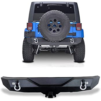 TURBOSII Rear Bumper fit for Jeep Wrangler JK 2007-2018 with 2X LED Lights 2 Hitch Receivers 2 D-Rings Rock Crawler Off Road Upgraded Textured Black
