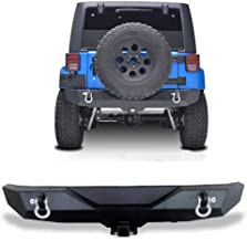 AUTOSAVER88 Rock Crawler Rear Bumper for 07-18 Jeep Wrangler JK and JK Unlimited with D-Ring, 2