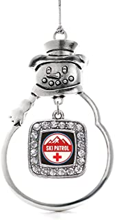 Inspired Silver - Ski Patrol Charm Ornament - Silver Square Charm Snowman Ornament with Cubic Zirconia Jewelry