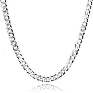 Sterling Silver Italian 3.5mm Diamond-Cut Cuban Curb Link Chain Necklace for Men Women