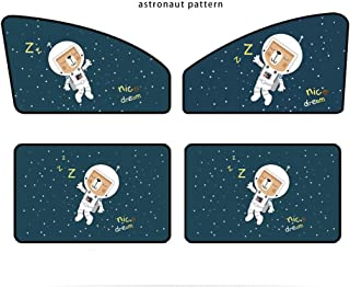 FancyAuto Sunshade Side Window Magnet Automatic Scaling Cartoon Shade Cloth Car Curtain Summer Sun Protection Windscreen Anti-UV Block UV Rays 4 PCS Sunshade For Kid and Pets (Astronaut pattern) - coolthings.us