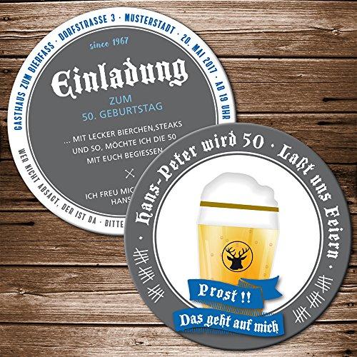 25 Echte Bierdeckel Einladung Geburtstag Motiv Bierglas Prost Bieruntersetzer Karte originelle individuelle Einladungskarte (25)