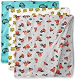 Rosie Pope Baby Boys' Blankets 3 Pack, Lion/Sloth/Truck, One Size