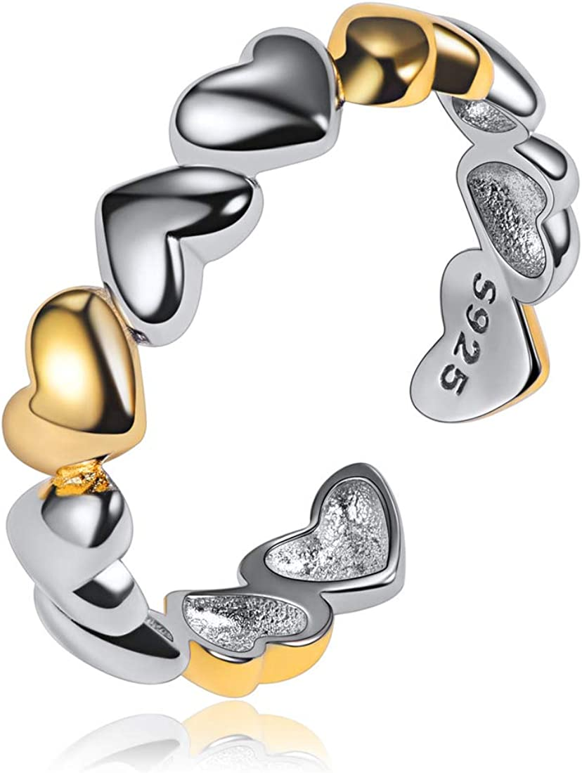 Sale price ChicSilve Manufacturer OFFicial shop Endless Love Heart Ring Sterling SilverGold Stacking