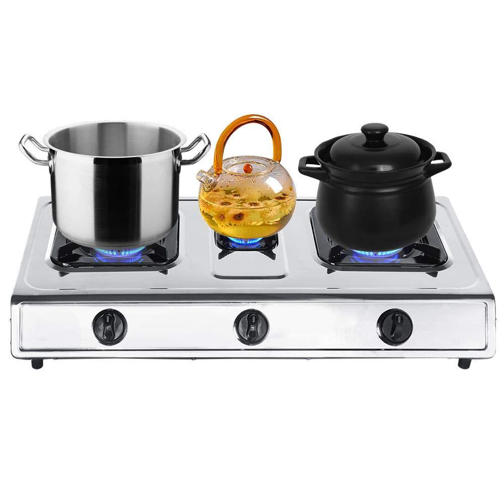 Encimera de Gas 3 Fuegos 71 x 36 x 8,5cm Cocina de Gas con 4 Patas ...