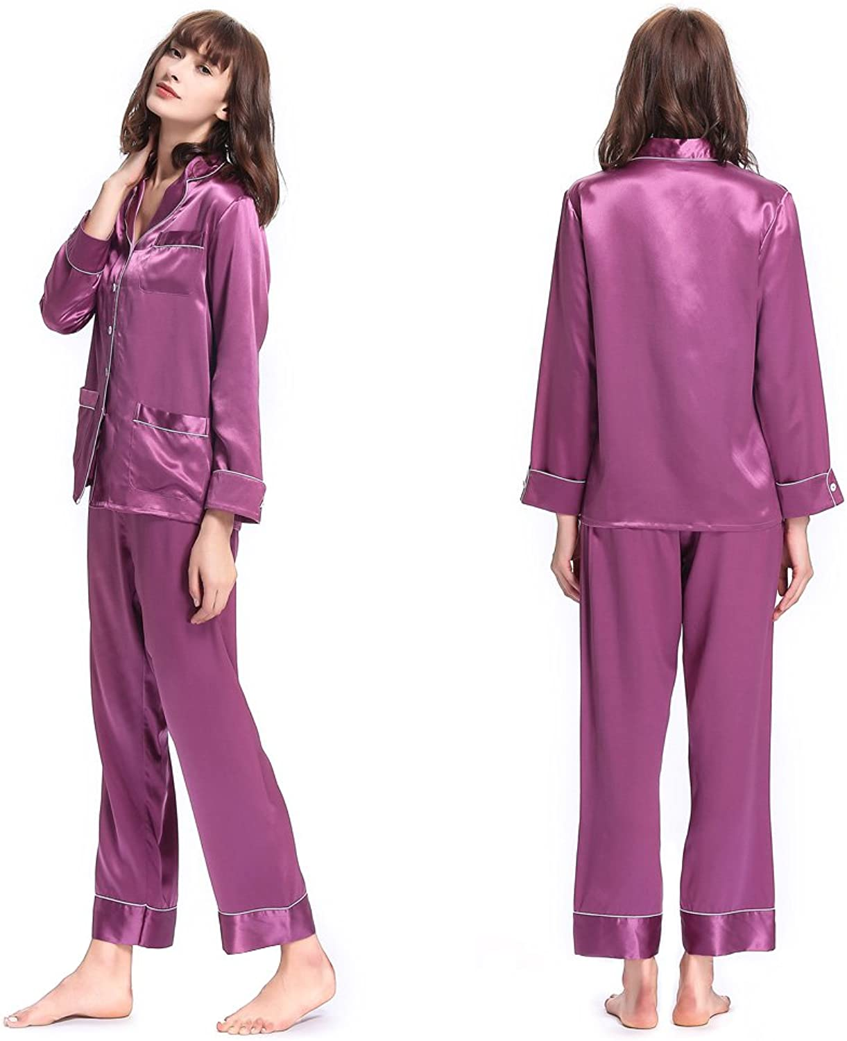 LilySilk Women's Long Silk Pajamas Set VNeck Notched Collar with White Trimmed