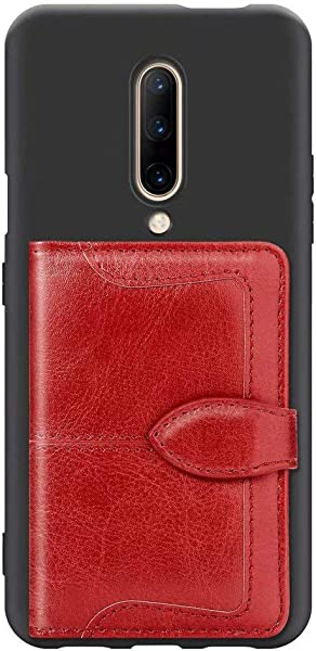 FlipBird For OnePlus 7 Pro Case For Men Women Card Holder Retro Book Style Flip Leather Magnet Back Wallet Case With Fold Kickstand Slim Fit Case For OnePlus 7 Pro Red