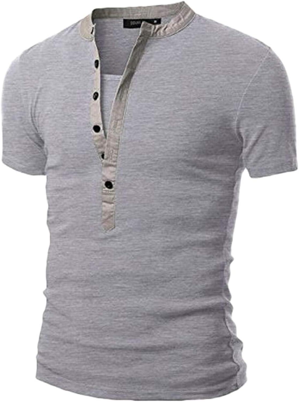 DZQUY Mens Summer Casual Short Sleeve Henleys V Neck T-Shirts Slim Fit Hipster Hip Hop Work Gym Workout Muscle Shirts