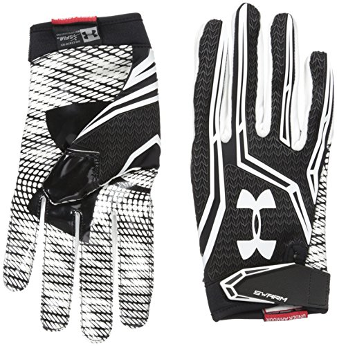 Under Armour Men's Swarm II Football Receiver Gloves, Black/White,...