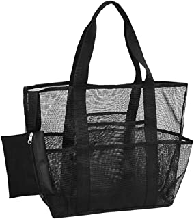 Mesh Beach Bag, Divers Watersports Large Beach Net Bag, Reusable and Stylish Toy Tote Bag with Multiple Pockets for Beach,...