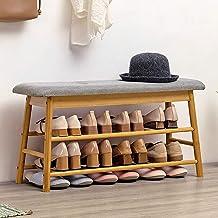 Shoe Rack Shoe Storage Bench, Entryway 2-Tier Shoe Organizer, Bamboo Storage Shelf with Soft Seat Cushion for Entryway, Li...