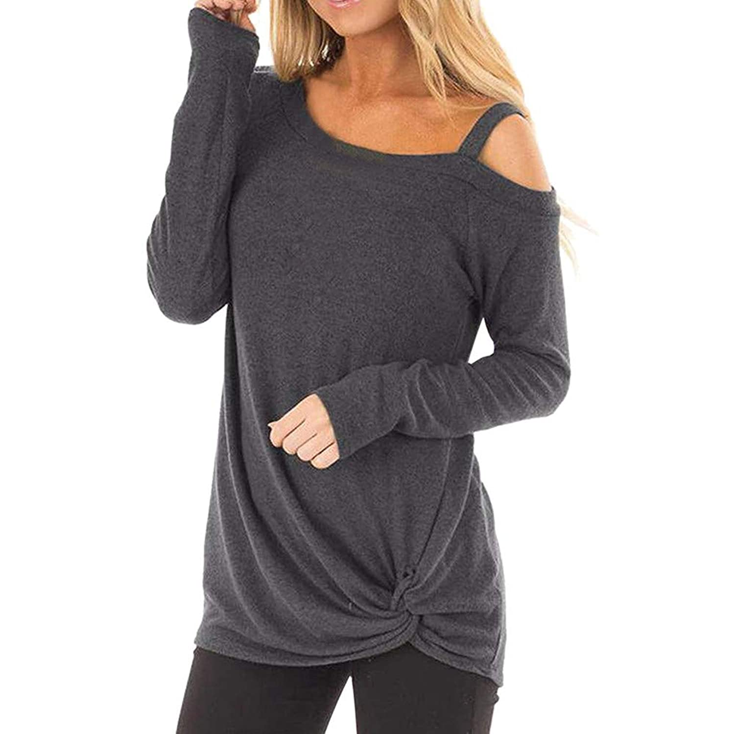 TWGONE Long Sleeve T Shirt Women Long Length Knot Front Loose O Neck Casual Solid Blouse Tops