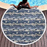 Toalla de playa redonda gruesa de lujo con peces, para niños, inspirada en acuarios geométricos, diseño geométrico de animales, estilo de dibujos animados para la playa, picnic, alfombra, esterilla de