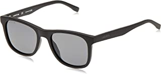 نظارات شمسية من لاكوست بتصميم رياضي واطار مستطيل اسود غير لامع