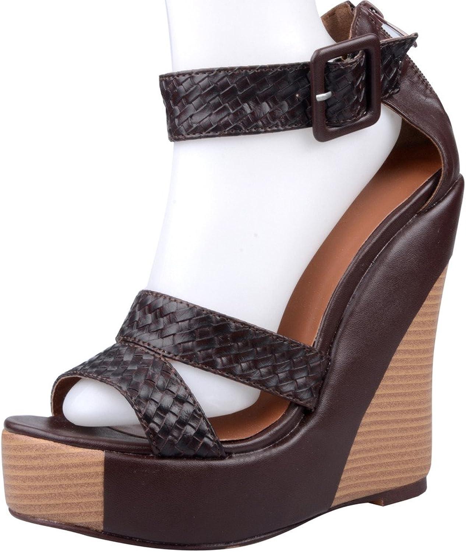 Calaier Womens Cafeel Luxury Fashion Modern Extreme High Heel Plus Size Open Toe 14.5CM Wedge Heel Zipper Sandals shoes