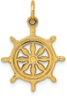 14k Yellow Gold Ships Wheel Pendant Charm Necklace Sea Shore Boating Man Animal Nature Outdoor Nautical Fine Jewelry For D...