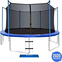ORCC New Upgrade 15 14 12 10FT Trampoline for Kids Adults with Safety Enclosure Net Wind Stakes Rain Cover Ladder, Safe Outdoor Trampoline for Backyard