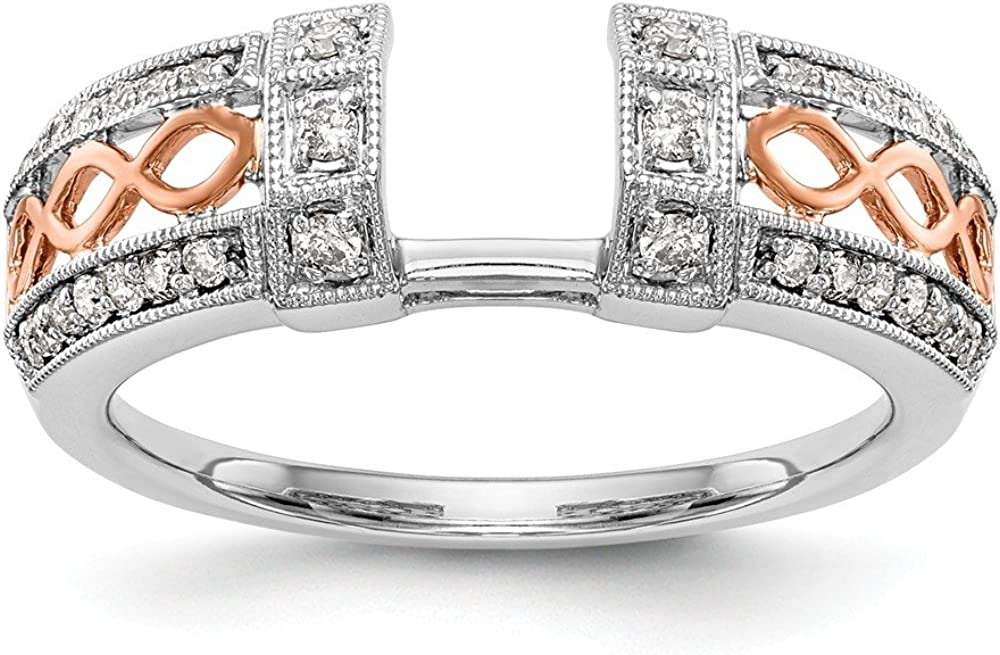 Solid 14k White and Rose Gold Engagement Diamond Wrap Wedding Ring Band Guard Enhancer (.256 cttw.)