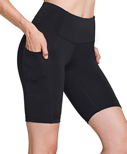 TSLA Women's High Waisted Bike Shorts, Workout Running Yoga Shorts with Pocket(Side/Hidden), Athletic Stretch Exercis...
