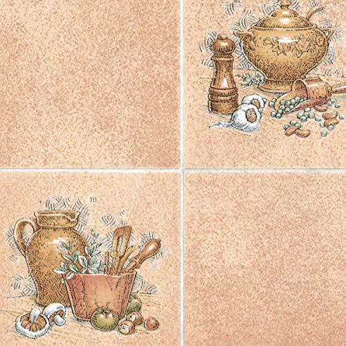 Fablon - Pellicola Adesiva da Parete, Effetto Piastrelle, 45 cmx15 m, Motivo Utensili da Cucina, Colore: Marrone