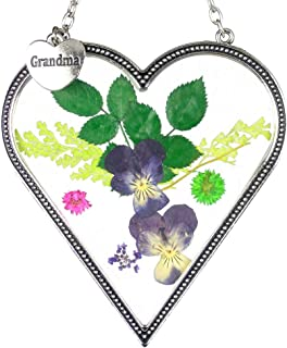BANBERRY DESIGNS Grandma Heart Sun Catcher - Pressed and Dried Flowers in Stained Glass Heart with a Hanging Charm Engraved Grandma - Mother's Day