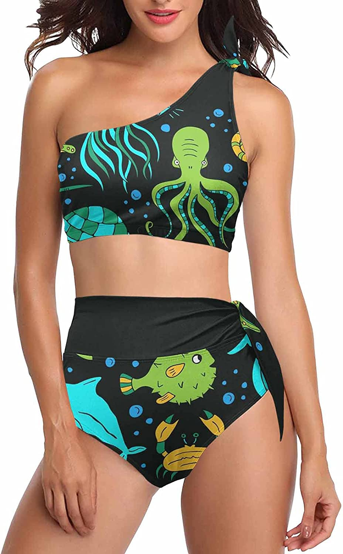 InterestPrint Polar Bear Healthy Lifestyle Women's Crop Top and High Waisted Bottom Swimwear Bathing Suits