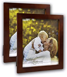 Spiretro 2 Pack 8 x 10 inch Flat Edge Molding, Solid Wood Picture Frame with Plexiglass, Vertical and Horizontal for Tabletop by Easel or Wall Mounting Display Photo Frame, Plain Honey Brown