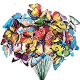 Teenitor Butterfly Stakes, 60pcs 7cm Garden Butterfly Stakes Decor Outdoor Yard Patio Planter Flower Pot Spring Garden